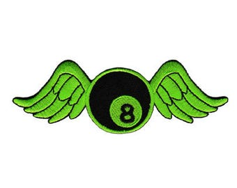 Bb60 8 Eight ball green Patch balls Billiard frame Application Patch Patches size 12.0 x 4.0 cm