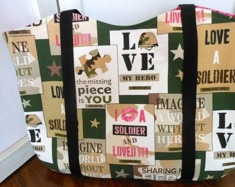 Tote Military Hero Medium Handcrafted Market Tote