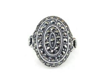 Uncas Sterling Marcasite Oval Tiered Ring - Art Deco Style, Scrolled Band, Gray Marcasites, Modernist Jewelry, Gifts for Her, Size 6