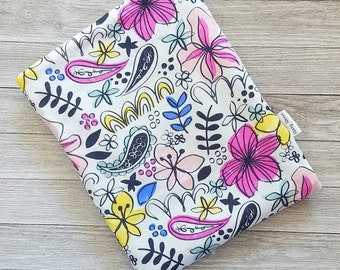 Floral Sketch Book Sleeve Story Sleeve -book sleeve, tablet sleeve, e-reader sleeve, kindle case, gift for her, teacher gift, iPad cover,