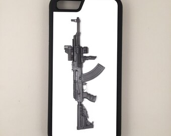 "AK47 Assault Rifle Gun Rights iPhone 6 4.7"" 6 Plus 5.5"" Hybrid Rubber Protective Case 2nd Amendment"