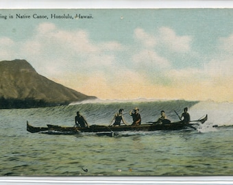 Native Hawaiian Outrigger Canoe Waikiki Honolulu Hawaii 1910c postcard