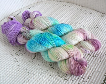 As You Wish - Hand Dyed Speckled Sock Yarn - Superwash Merino Cashmere Nylon - Pink Purple Turquoise Green