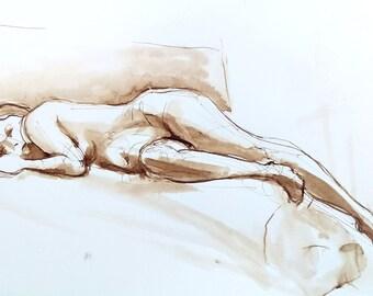 Female Nude Figure Drawing Reclining on Side, Walnut Ink on Paper, Dessin de Nu, Fine Art Nude, Relaxed Female Figure, Sepia Toned Art