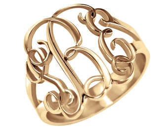 Rose Gold Monogram Ring, Custom Ring, Personalized Ring, Rose Gold Initial Ring, Custom Jewelry, Bridesmaid Gift, Gift for Her, Wedding Gift