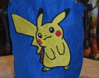 Dice Bag Pokemon Pikachu 02 Embroidered suede