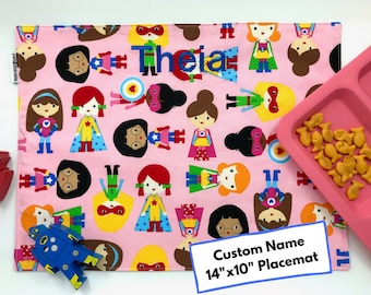 Personalized Girls Gift (Supergirl Placemat, Pink Placemat, Back To School, Montessori Lunch, Name Place Mat, Superhero Placemat)