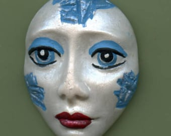 Polymer Clay Pearl Spirit Doll Face with turquoise WPF 1