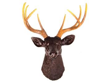 Faux Deer Head in Espresso Brown with Realistic Antlers - Deer Head Antlers Fake Taxidermy Wall Mount D2600