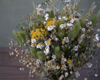 Dried flower country wedding bouquet, shabby chic rustic sunny colour bouquet