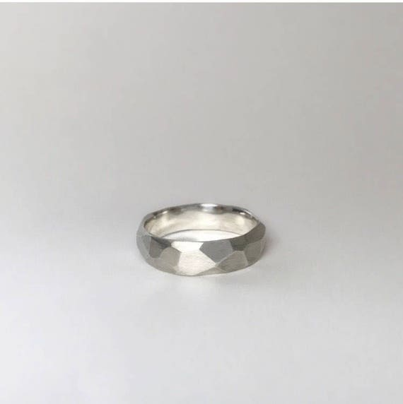 Sterling Silver Facet Band