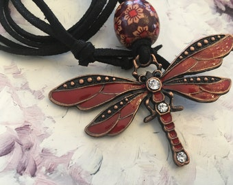 Necklace Bohemian dragonfly