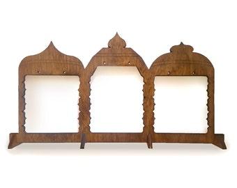 Temple Earring Display {{ Handmade, wooden display, lasercut display, custom display, 3 pairs of earrings }}