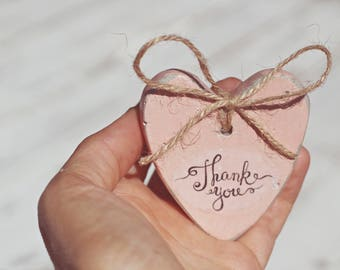 Shabby Chic Wedding Favors -  Set of 3 - Heart Wedding Favors - Wedding Decoration - Thank You Favors - Wedding Gifts - Favors for Guests