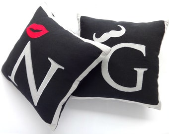 couple pillow covers-Mr & Mrs- monogrammed initial pillow cover 18 inch custom made - set of 2  10% off
