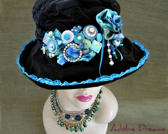 Black Velvet Hat. Unique Hat. Funky Hat. Custom Designed Hat. Fun Hats. Festival Hat. Steam Punk Hat. Buttons Bows Beads. One of a Kind Hat.