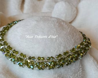 "Necklace Choker-""SUNSHINE"" green silver Swarovski Crystal bicones, seed beads and lobster clasp adjustable silvered Metal"