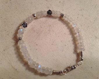 Moonstone Bracelet - Rainbow Moonstone Jewelry - Moon Stone - Sterling Silver - Gemstone Jewellery - Trillion Charm - Beaded - Fashion