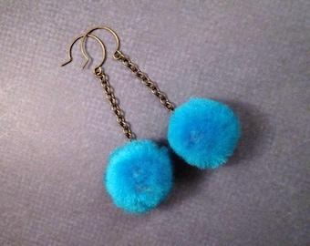 Pom Pom Earrings, Aqua Blue and Brass, Long Dangle Earrings, FREE Shipping U.S.