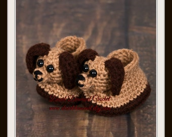 Puppy Dog Baby Booties - 5 Sizes - Made To Order