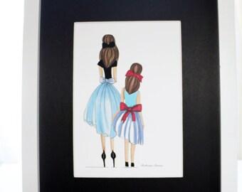 Mother daughter illustration in two different hair colors, blonde or brunette,big sister little sister illustration, blonde brunette sisters