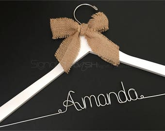 Sale Today Only!! Custom Hanger with Burlap Ribbon / Wedding Hangers BLOW-OUT / Custom Bridal Hangers / Personalized Wedding Hangers