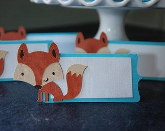 Cartes de Place Fox, Fox les étiquettes des aliments, Woodland, renard parti, Fox Shower, douche de bébé bois