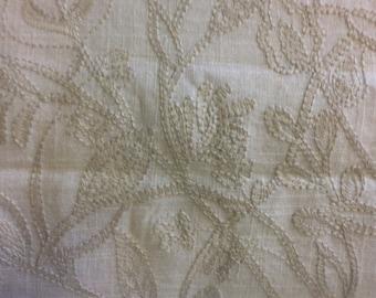 Emroidered LINEN cream home decor fabric