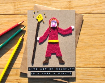 LARP birthday card - Live action roleplay pun - Geeky greeting card - Wizard - Mage - Sorcerer - Cleric