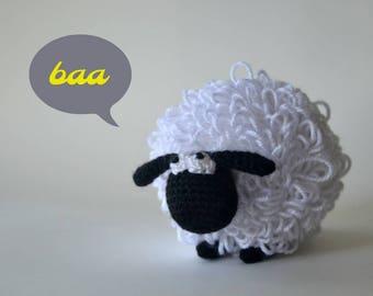 Mouton amigurumi, crochet fait main peluche animal de ferme, peluche