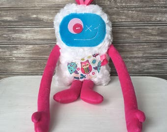 Choose: Hug Monster plush toy (Monstre à Câlins), hot pink and turquoise blue with owl pocket, monster for girl, easter or birthday gift