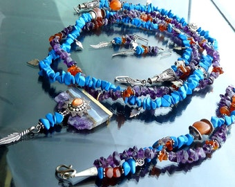 Amethyst Turquoise Carnelian Sunstone Sun multistrand necklace blue purple orange sterling silver 14kt gold overlay crystal set OOAK jewelry
