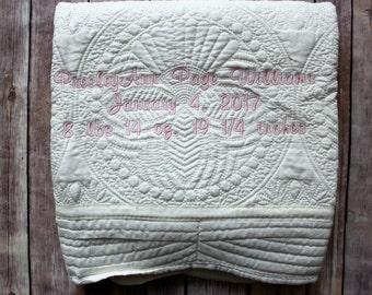 Monogrammed Baby Quilt, Birth Announcement Quilt, Baby Blanket, Monogrammed Blanket, Baby Birth Announcement Blanket, Baby Name Blanket, Boy
