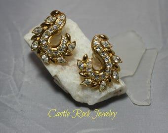 Gold Tone Leaf Pierced Earrings with Multiple Rhinestones