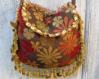 Floral brown red hippie purse, fringe bag, bohemian crossbody bag, boho gypsy purse, bags and purses, hand made fabric purse