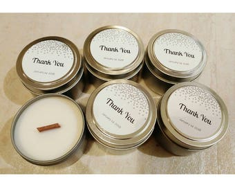 Set of 12 Tin Soy Candle 4 oz   Soy Candle   Thank You   Wedding   Custom Candle   Favor Candle