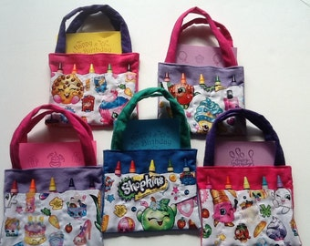 Shopkins Children's Crayon Bag and Customized Paper, Birthday Party Favor