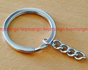 10 Key Rings with Chains...Key Chains...30mm...H119-10
