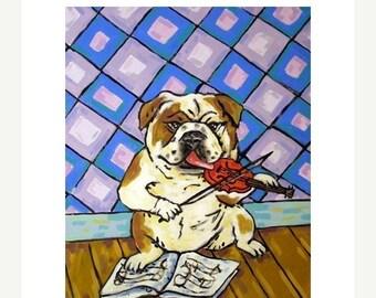 25% off bulldog art - Bulldog - modern dog art PRINT,  violin fiddle