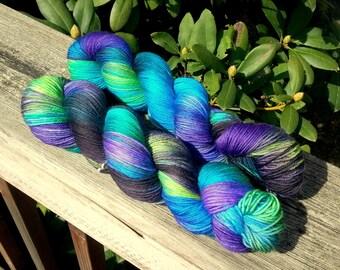 Midnight Firefly - Hand Painted Superwash Merino Yarn - Sparkle Sock