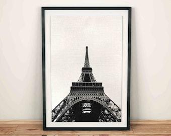 Eiffel Tower Print, Paris Wall Decor, Paris Photo Black and White, Paris Black Print, Black Print, Printable Black and White Photos, Travel