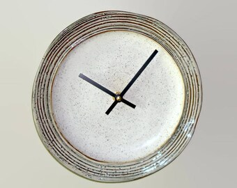 Rustic Pottery Wall Clock 8-3/4 Inches SILENT, Kitchen Wall Clock, Stoneware Plate Clock, Unique Wall Clock, Tan Brown Clock - 2483
