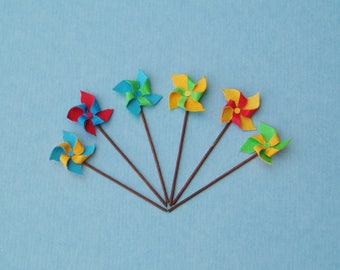 6 Toy Windmills or Pinwheels, 1:12 or 1/12 Scale Dollhouse Miniatures, Bright Colours,Red, Blue, Green and Yellow, Beach, Garden or Toy Shop
