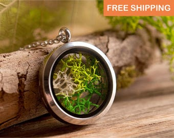 Moss necklace, birthday gift for her, gift for women, terrarium necklace, nature necklace, silver plated necklace, green jewelry