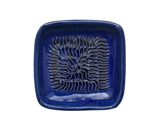 Handmade Ceramic Garlic Grater Blue