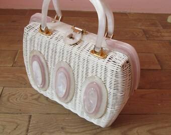Adorable Vintage 1950s Basket Box Purse Handbag with White & Lavender Pearlized Lucite