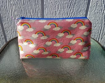 Rainbows and Raindrops Zipper Pouch Cosmetic Makeup Bag