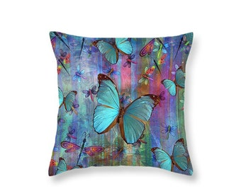 Boho Chic Dragonfly Butterfly Throw Pillow Colorful