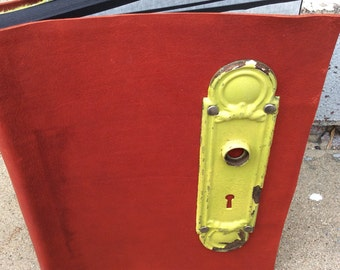 Red Photo Album with Antique Door Plate - Black pages