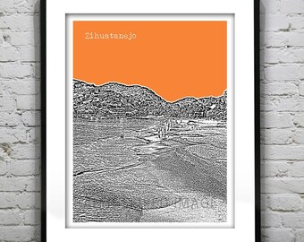 Zihuatanejo Beach Mexico Poster Art Skyline Guerrero Print
